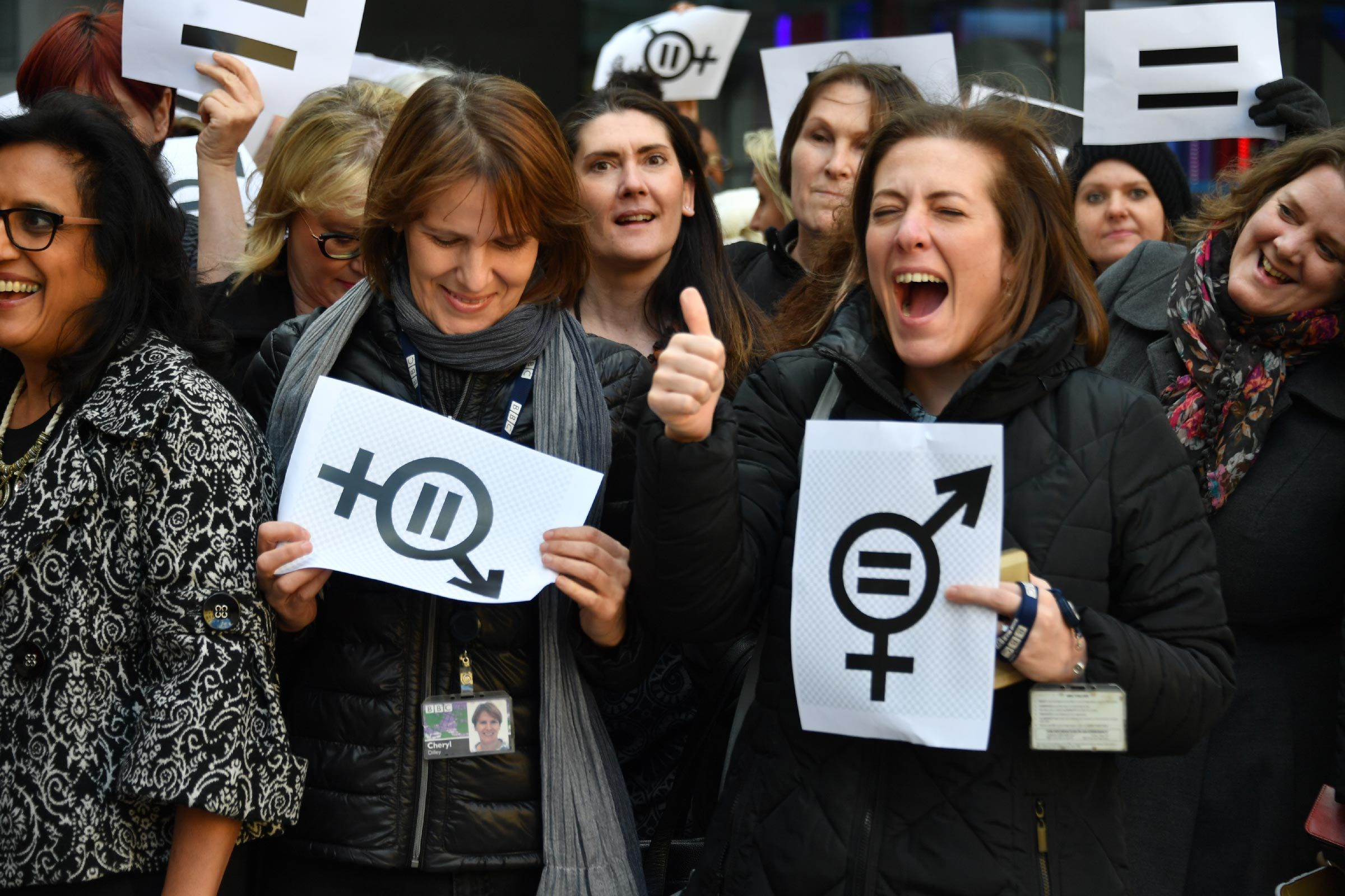 Hundreds of BBC staff protest over equal pay outside the Corporation's headquarters. Former China editor Carrie Gracie spearheaded the campaign