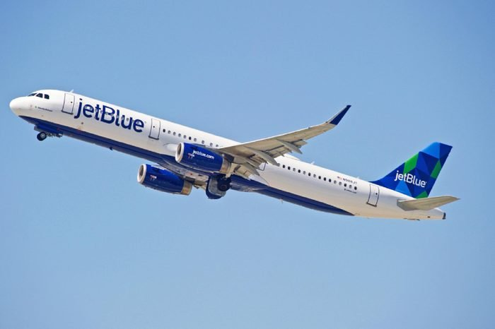 JetBlue Airways Airbus A321 aircraft is airborne as it departs Los Angeles International Airport. Los Angeles, California USA