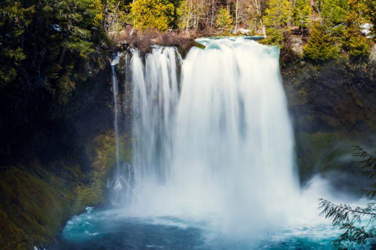Koosah Falls is a 70-foot plunge waterfall on the McKenzie River in Oregon.