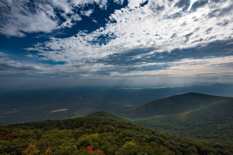 Landscape of Catskill Mountains. View of Overlook Mountain in Woodstock - NY during the autumn.
