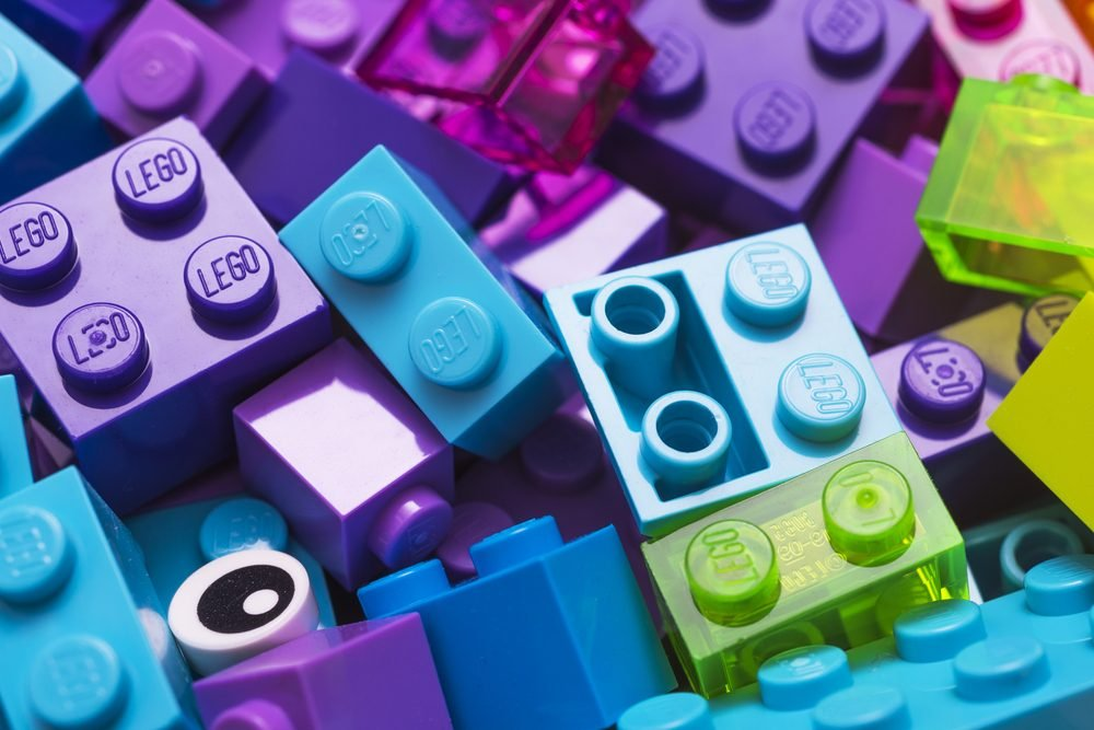 Lego blocks - plastic construction toy -manufactured by The Lego Group based in Billund, Denmark - illustrative editorial