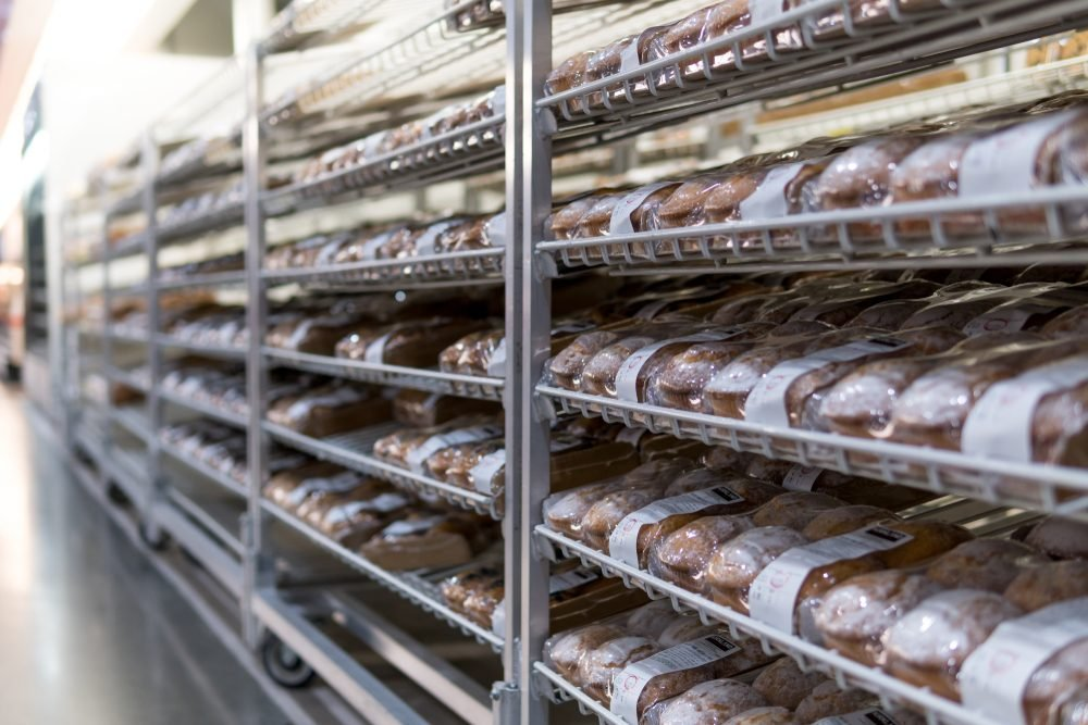 Melbourne, Australia - Oct 26, 2017: Neatly arranged bakery on the shelves in Costco supermarket.