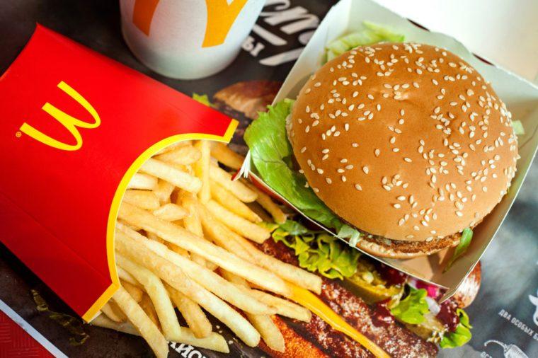 Minsk, Belarus, May 6, 2018: Big Mac hamburger menu in McDonald's restaurant.