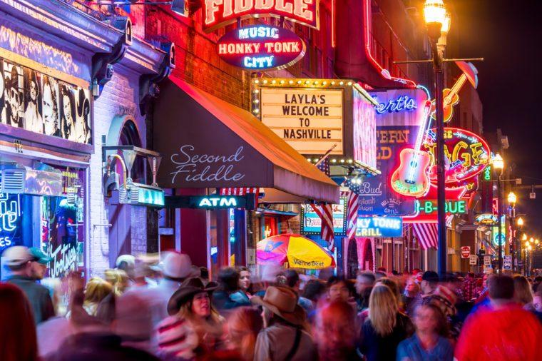 NASHVILLE - NOV 11: Neon signs on Lower Broadway Area on November 11, 2016 in Nashville, Tennessee, USA