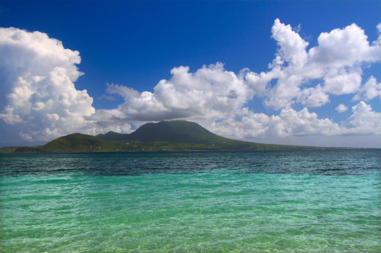 View of Caribbean island Nevis from Saint Kitts.