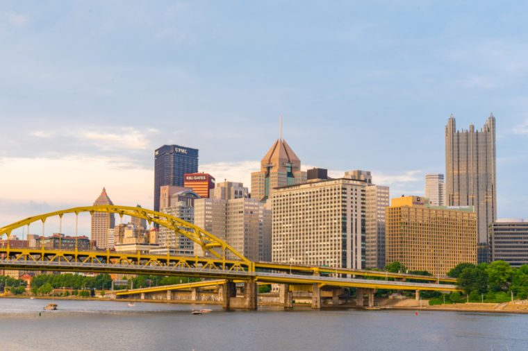 PITTSBURGH, PA - JUNE 16, 2018: Pittsburgh, Pennsylvania skyline along the Allegheny river from North Shore Riverfront Park