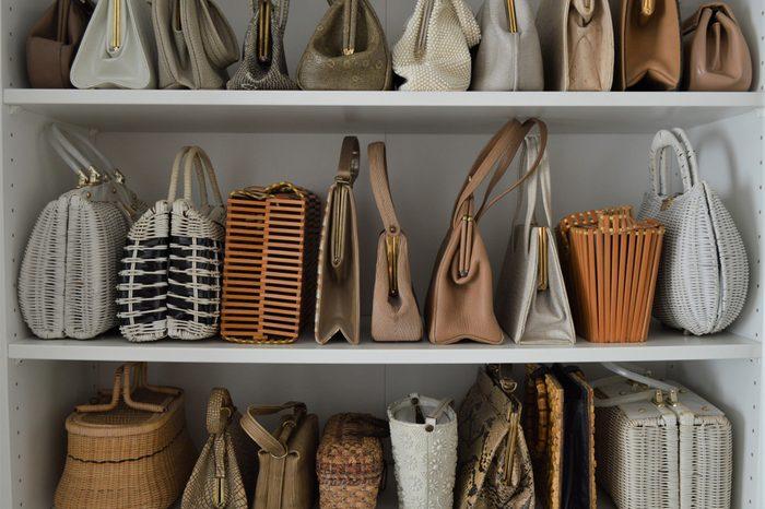 Organized natural color vintage handbag collection