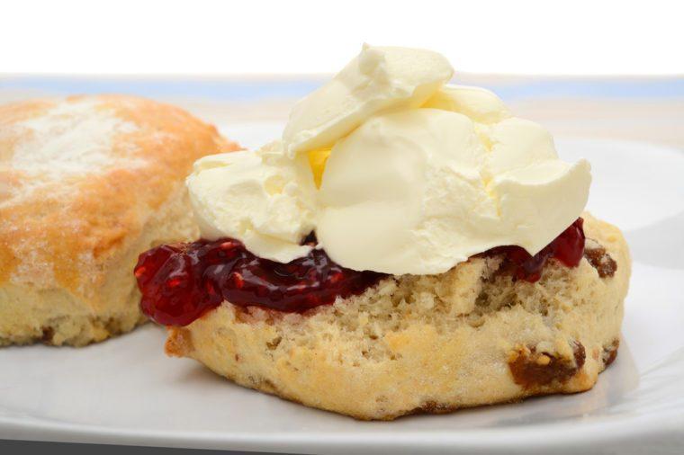 Fruit scone with raspberry jam and cream