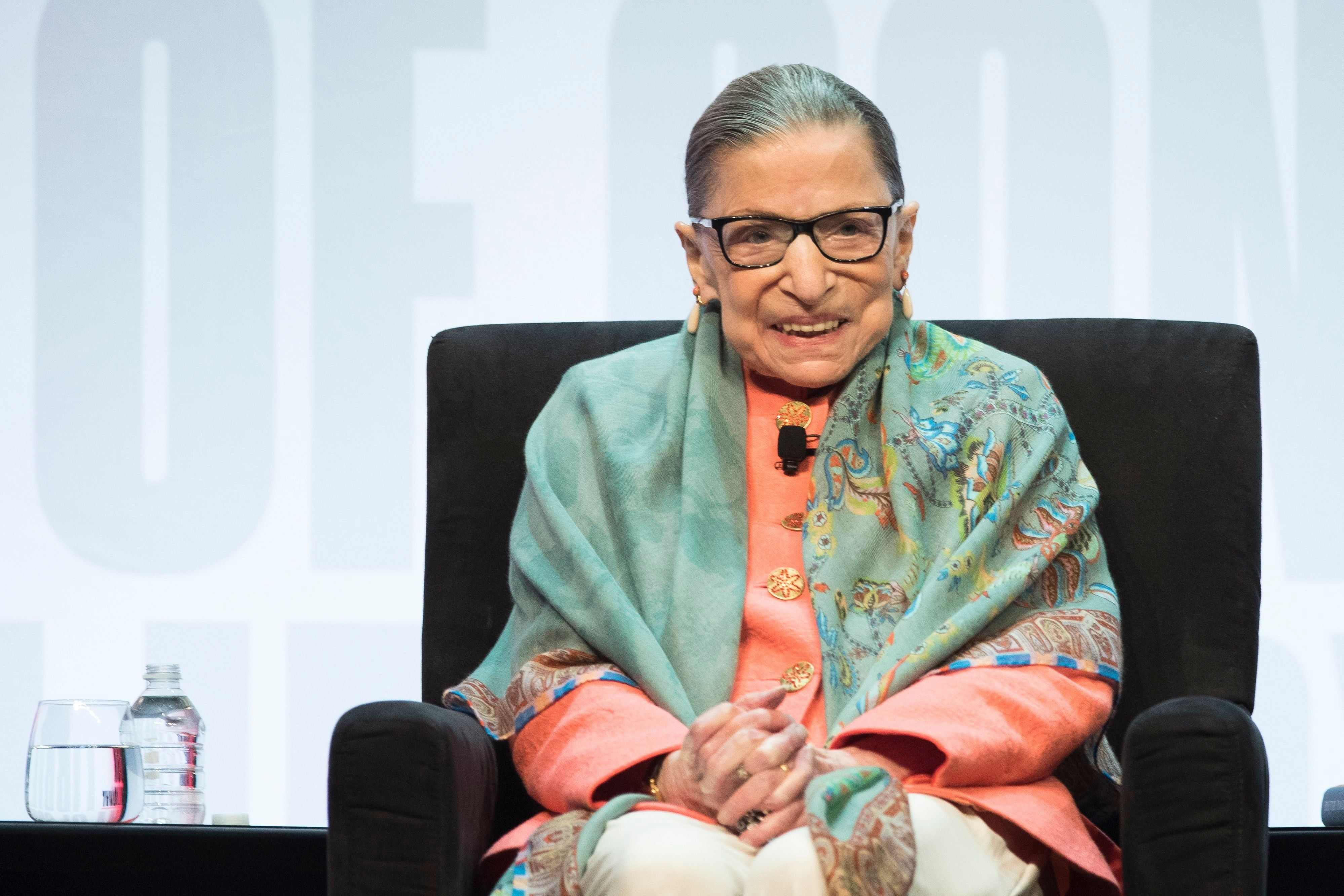 Mandatory Credit: Photo by Cliff Owen/AP/Shutterstock (10376282s) Supreme Court Associate Justice Ruth Bader Ginsburg speaks at the Library of Congress National Book Festival in Washington SCOTUS Ginsberg Book Festival, Washington, USA - 31 Aug 2019