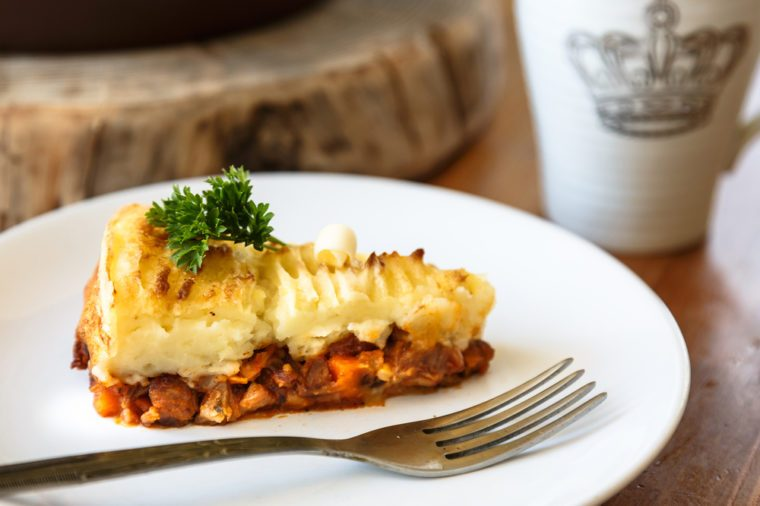Baked Irish pie with minced meat on a plate