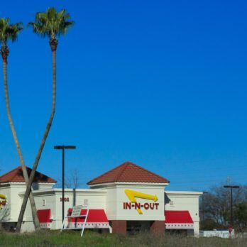In-N-Out restaurant Company logo on Store front facade