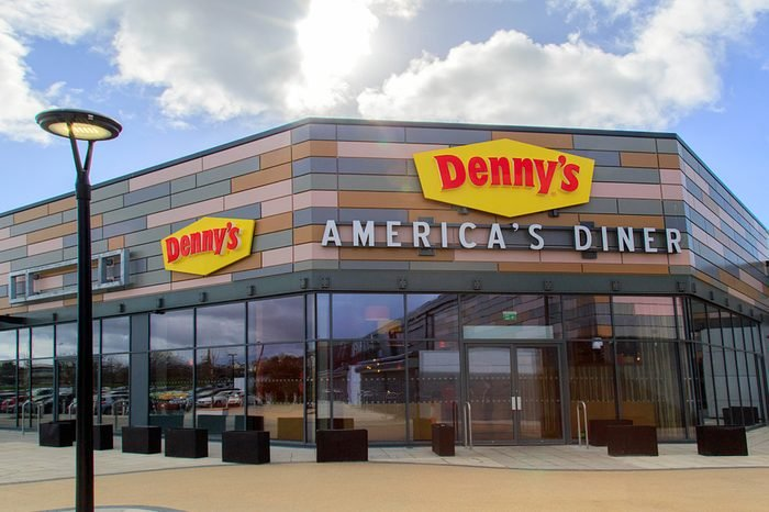 Swansea, UK: March 08, 2018: The first Denny's American Diner to open in the UK was in Swansea in 2017 creating 70 jobs. Denny's was one of the original 'diner' concept and is now found worldwide.