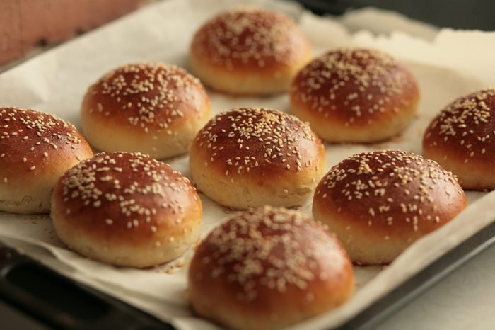 The homemade bread rolls with sesame seeds hamburger