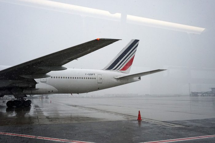 PARIS, FRANCE - MARCH 19 2018 - paris airport covered by snow big delays and flights cancelled
