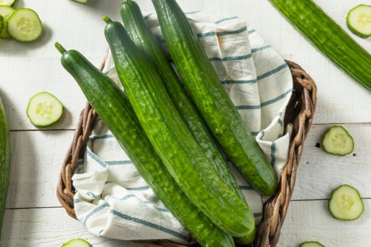 Healthy Organic Green English Cucumbers Ready to Eat