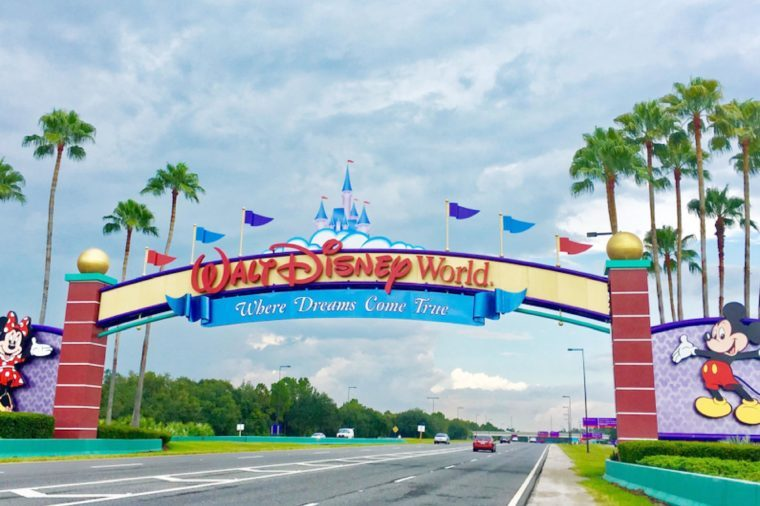 Orlando, Florida, USA - July 29, 2016: Entrance of Walt Disney World near Orlando