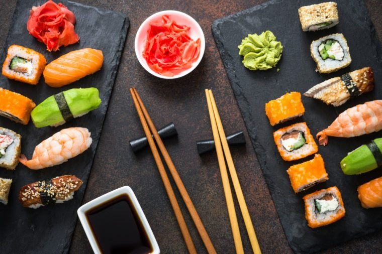 Sushi, maki, nigiri and sushi roll set top view