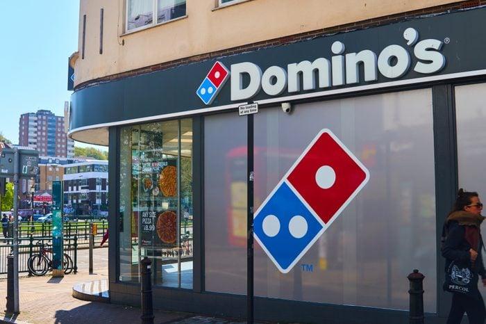 Domino's Pizza shop window in Brighton UK