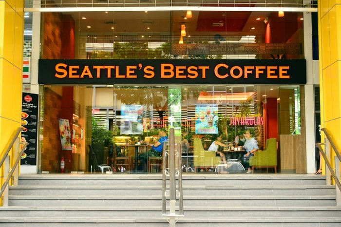 Seattle's Best Coffee facade on June 2, 2018 in Manila, Philippines. Seattle's Best Coffee LLC, an American coffee retailer and wholesaler, based in Seattle, Washington.