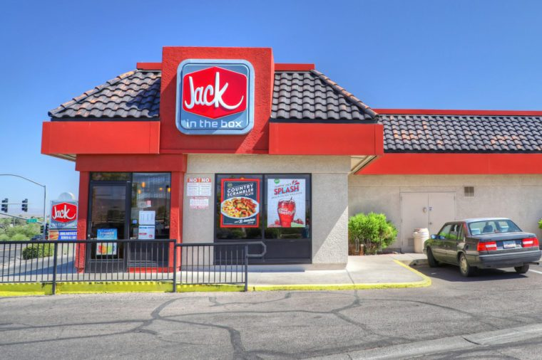 Jack in the Box fast food hamburger restaurant, Cottonwood Arizona USA, June 24, 2018