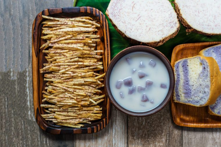 Taro bread , taro dumplings in coconut cream(Thai dessert) and sweet taro snacks or sweet taro crisps