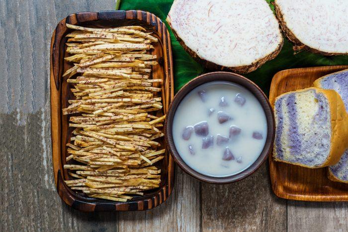 Taro bread , taro dumplings in coconut cream(Thai dessert) and sweet taro snacks or sweet taro crisps