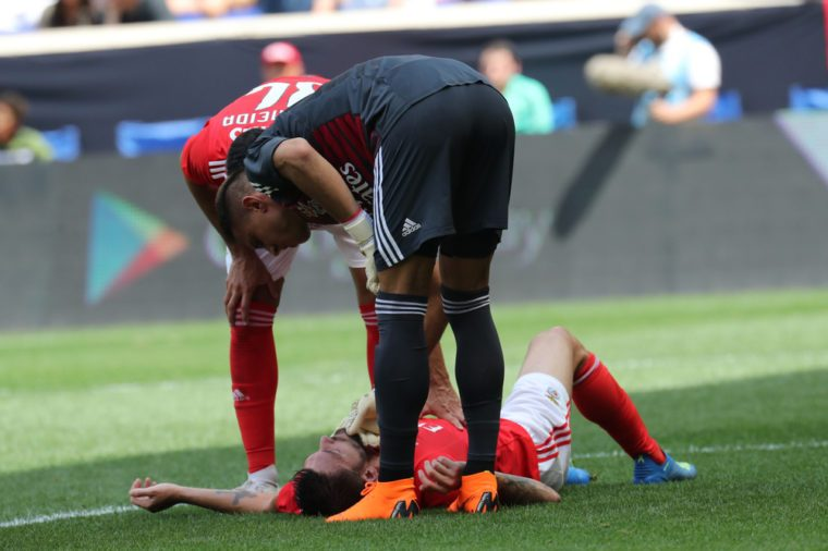 Facundo Ferreyra #19 of Benfica injured during game against Juventus in the 2018 International Champions Cup game at Red Bull Stadium