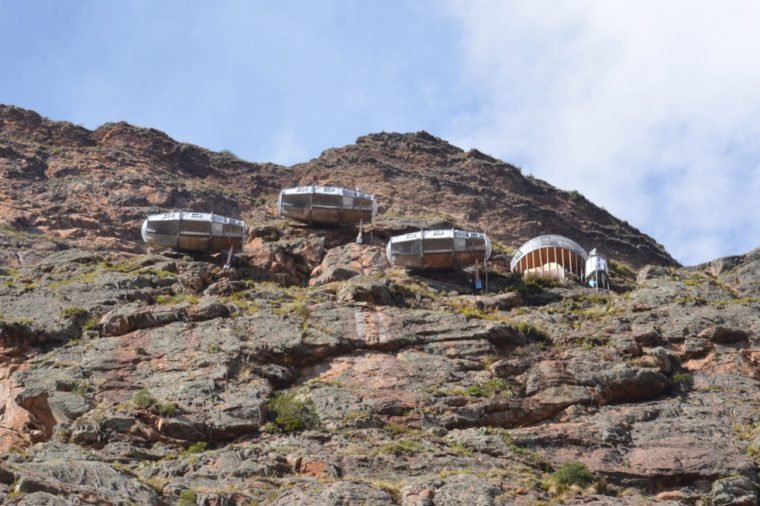 OLLANTAYTAMBO / PERU, August 15, 2018: View of Naturavive Skylodge Adventure Suites near Ollantaytambo from the highway.