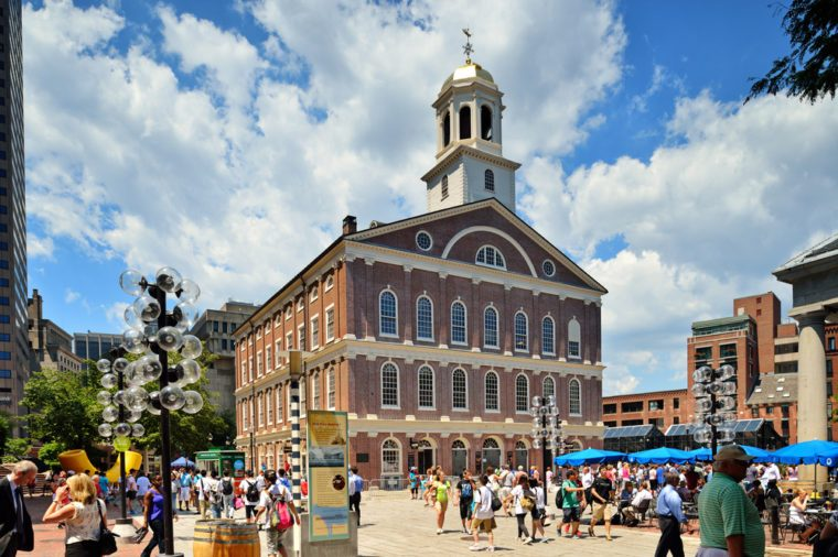 BOSTON, MA - JUNE 9: A crowd of tourists and locals at Faneuil Hall, rated number 4 in America's 25 Most Visited Tourist Sites by Forbes Traveler in 2008. As seen on June 9, 2012 in Boston, MA - USA.