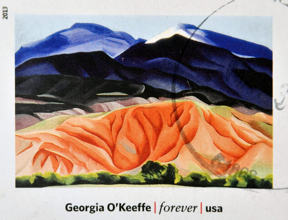 UNITED STATES OF AMERICA - CIRCA 2013: A stamp printed in USA dedicated to modern art in america shows Black Mesa Landscape, New Mexico by Georgia O'Keeffe, circa 2013