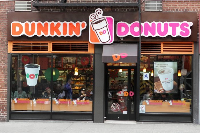 An exterior view of a Dunkin Donuts coffee shop in New York City, on November 27, 2013. Dunkin Donuts has over 15,000 restaurants in more than 30 countries.
