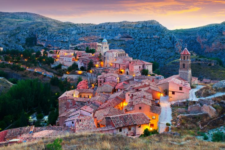 evening view of mountains town in Aragon. Albarracin, Teruel