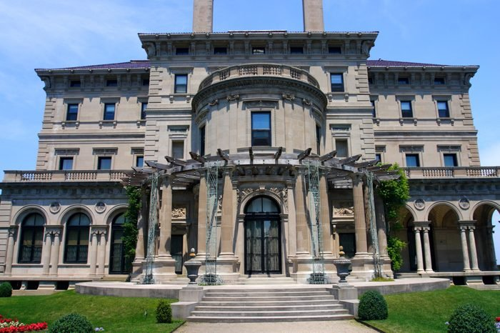 Breakers, built by Cornelius Vanderbilt of the Gilded Age, as seen on the Cliff Walk, Cliffside Mansions of Newport Rhode Island