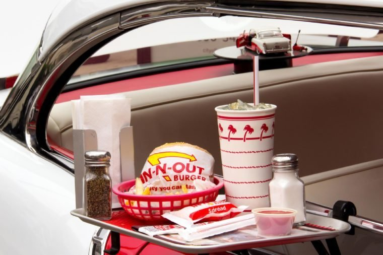 Depiction In-N-Out Burger drive-in restaurant at Pasadena Police Classic Car Show. In-N-Out Burgers, Inc. is a chain of restaurants United States West and Southwest.