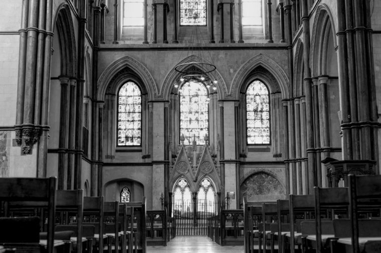 ROCHESTER, THE GREAT BRITAIN -MAY 14 2014: Interior of the Rochester cathedral in Kent area on 14th of May 2014 in ROCHESTER, THE GREAT BRITAIN (black and white)