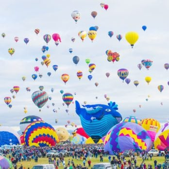 Balloons fly over Albuquerque on October 11, 2014 in Albuquerque, New Mexico. Albuquerque balloon fiesta is the biggest balloon event in the world.