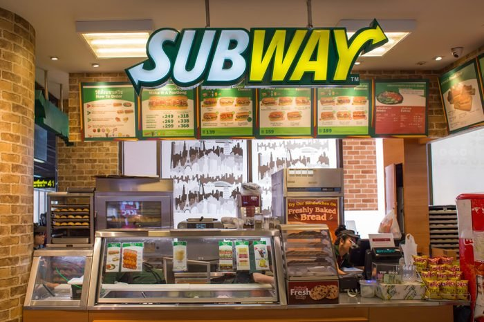 BANGKOK, THAILAND - MARCH 17 : Exterior view of Subway Restaurant on March 17, 2015 in Bangkok, Thailand. It is one of the fastest growing franchises in the world, with 43,035 restaurants.
