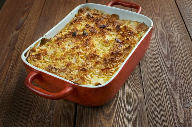 Mormon Funeral Potatoes - traditional potato hotdish, or casserole, un Intermountain West region of the United States. potatoes, cheese , onions, cream soup,