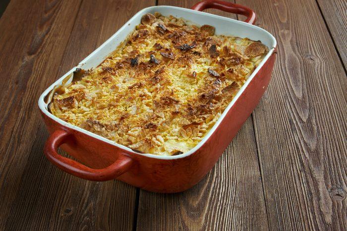 Mormon Funeral Potatoes - traditional potato hotdish, or casserole, un Intermountain West region of the United States. potatoes, cheese , onions, cream soup,