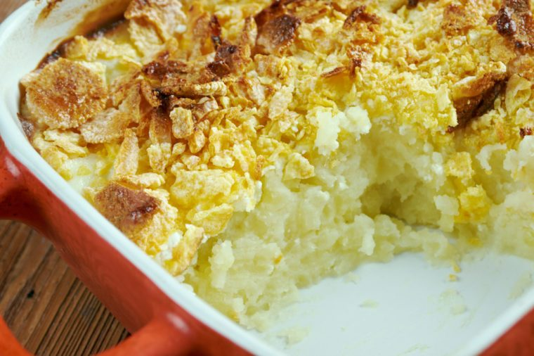 Mormon Funeral Potatoes - traditional potato hotdish, or casserole, un Intermountain West region of the United States. potato chips
