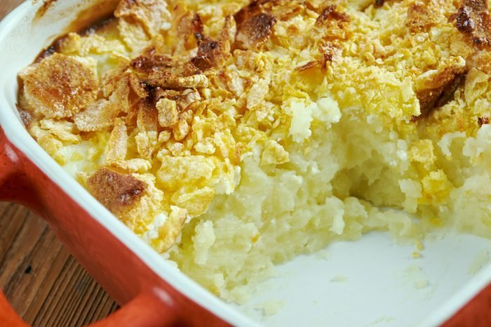 Mormon Funeral Potatoes - traditional potato hotdish, or casserole, un Intermountain West region of the United States. potato chips