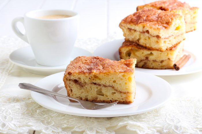 Cinnamon sour cream coffee cake on plate