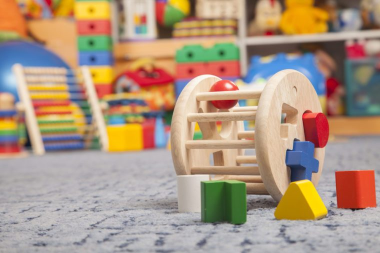 wooden color toy in room for children
