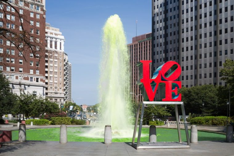 USA, PHILADELPHIA - SEP 02, 2014: Green color fountain in Love park.