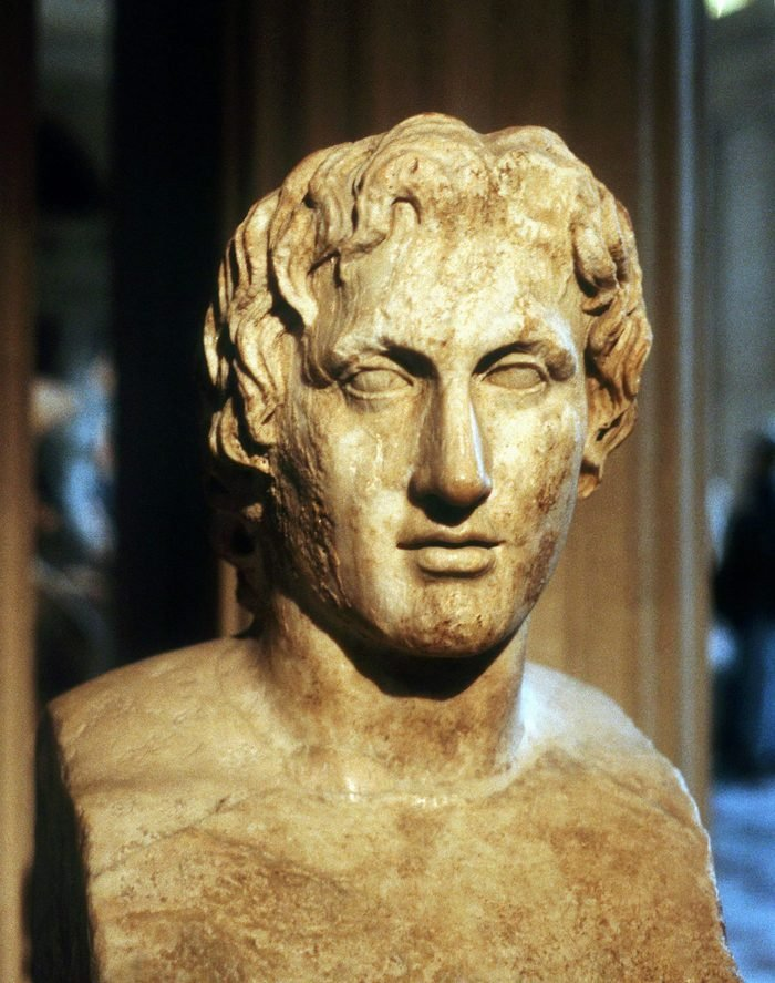 VARIOUS Alexander the Great (Alexander III of Macedon) 356-323 BC. Roman copy of contemporary bronze bust by Lyssipus. Louvre, Paris