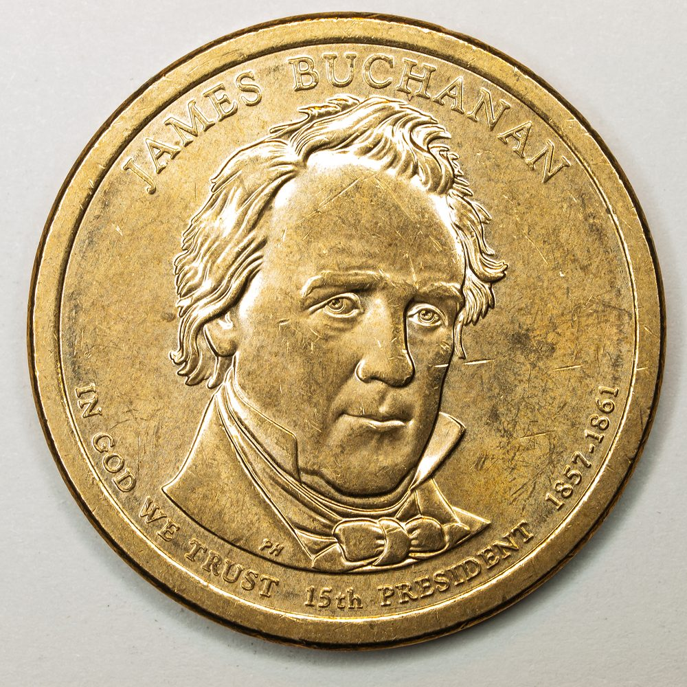 US Gold Presidential Dollar Featuring James Buchanan