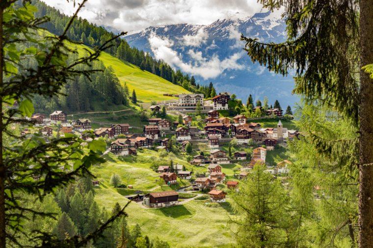 The small mountain village of Tschiertschen, Switzerland