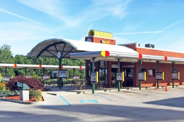 Exterior of a Sonic Drive In restaurant. Sonic is an American chain of restaurants featuring car hops.