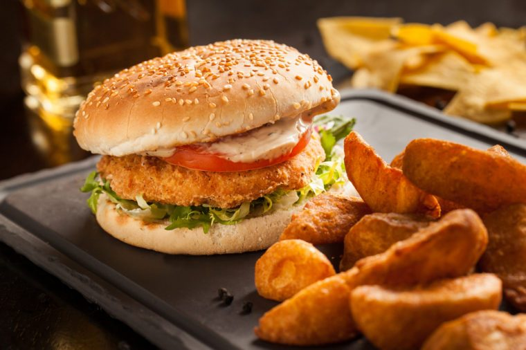 tex mex style chicken burger as served in a restaurant