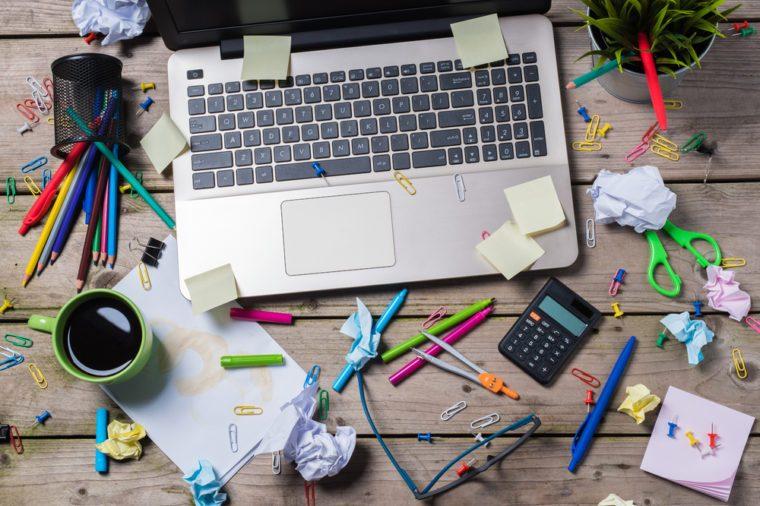 Messy office desk